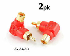 2-PACK Red RCA Male Plug to RCA Female Right Angle Adapter, CablesOnline AV-A11R
