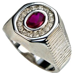 2.5 carat oval Ruby simulated mens ring 18k white gold overlay 11 S1