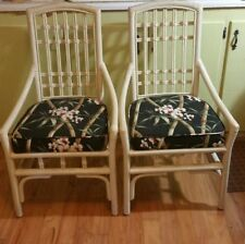 Mid Century Modern Bamboo Rattan Slipper Chairs Set of 2