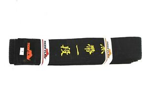 Tiger Claw Black Belt with Yellow Writing Size 1