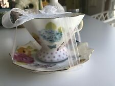 Meritage Cup and Saucer Set - Flowers, Butterfly, and Rabbit with gold-Brand New