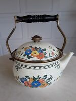 VINTAGE ENAMEL TEA KETTLE BY M. KAMENSTEIN  Brass Enamelware floral design