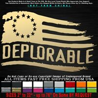 Trump 2020 Deplorable Tattered Flag 13 Stars left Betsy Ross MAGA Sticker Decal
