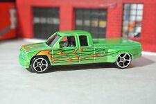 Hot Wheels Chevy C3500 Pickup Truck - Green w/ Flames - Loose 1:64 - Heat Fleet