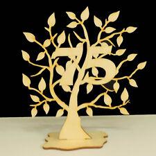 Jubiläumsbaum Geburtstag, 75 Jahre aus Holz 16cm Lebensbaum Geschenk Hochzeit