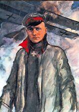 """MANIFESTO POSTER """"Manfred di Richthofen"""" caccia aviatori pour le merite 1. guerra mondiale"""