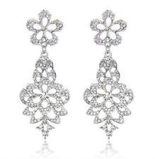 Rhodium Plated SWA Austrian Crystal Rhinestone Drop Chandelier Dangle Earring