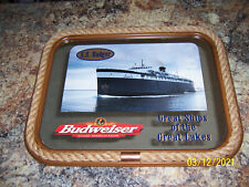 "Rare Budweiser Great Ships of the Great Lakes Ss Badger Mirror 27"" Wide 21"" High"
