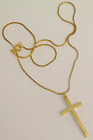 collier chaine pendentif croix couleur or rodié poli brillant A16