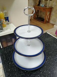Denby IMPERIAL BLUE three tier cake stand