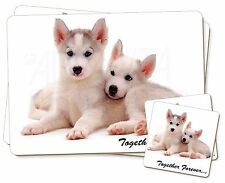 Husky Puppies 'Together Forever' Twin 2x Placemats+2x Coasters Set in , TF-H60PC