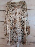 Chico's Women's Size 3 XL 16 Pull Over Blouse Top Snake Print Tunic Long sleeve