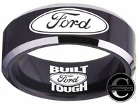 Ford Ring Ford Wedding Band 8mm Tungsten Black Silver Ring Sizes 4 - 17 #ford