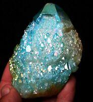 260g Light blue Aura Quartz Crystal Titanium Bismuth Silicon Cluster Rainbows