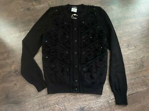 Chanel 100% Cashmere Cardigan with Camellia buttons size 42 made in Italy
