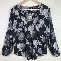 Lucky Brand Women's M Medium Black Gray Floral Tassel Peplum 3/4th Sleeve Top