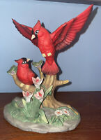 VTG WELLINGTON COLLECTION 2 RED CARDINALS FLOWERS HANDPAINTED FIGURINE