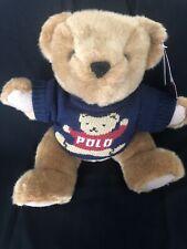 "1997 Polo Ralph Lauren Plush Jointed Teddy Bear Blue Sweater 14"" Stuffed Animal"