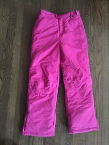 LL Bean Snowpants Kids Large 14 Pink Cargo Zipper Pockets Ski Pants Thinsulate