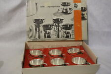 "NOS Vintage 6 Silver ""Brushed"" & Glass Tea/Coffee Cups, WMF TEEGLAS GARNITUR MCM"
