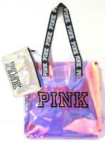 Victoria's Secret Pink! Clear Iridescent Tote Bag & Pouch Travel Beach, NEW