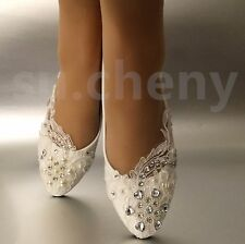 Charming White Light Ivory Lace Pearls Crstal Flat Ballet Wedding Shoes Bridal Size  5 12