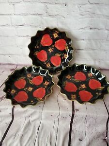 3 ROMMEL NUEVA FOR SAPARNA DISHES black with apples designs