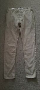 New NWT Skinny stretch chino beige houndstooth check pants sz 30 RRP $50