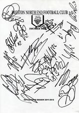 PRESTON NE FC - Multi Signed A4 Page - By 19 Players 2011/12 - FOOTBALL