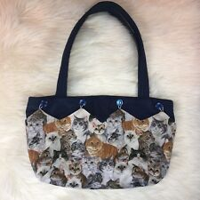Handmade Cat Purse with Removable Cover Navy Blue