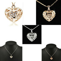 Silver&Gold Heart Shape Exquisite Crystal Hollow Pendant Necklace Chain