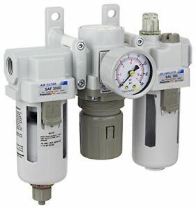 "PneumaticPlus Air Filter Regulator Lubricator 3/8"" NPT 250 PSI SAU300-N03G"