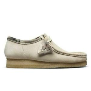 NEW IN BOX! MENS CLARKS Wallabee Off White CASUAL 26150490 SIZE 7.5-13