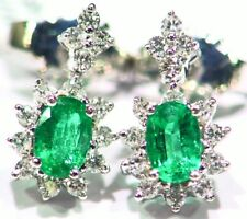 1.51CT 14K Gold Natural White Diamond Emerald Vintage Halo Engagement Earrings