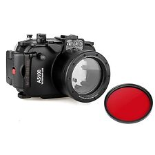 40M Waterproof Underwater Camera Housing Case for Sony A5100 16-50mm, Red Filter