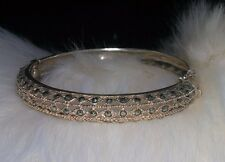 Gorgeous Antique STERLING SILVER & MARCASITE Hinged Bangle ~ signed 925