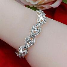 Elegant Deluxe Austrian Crystal Bracelet Women Infinity Rhinestone Bangle P0