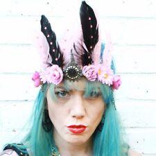 SECRET GARDEN FAIRY FEATHER BRIDAL HEAD DRESS HEAD BAND FESTIVAL FLOWER CROWN