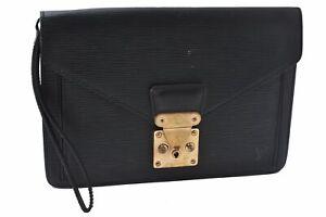 Authentic Louis Vuitton Epi Sellier Dragonne Clutch Bag Black M52612 LV D1258