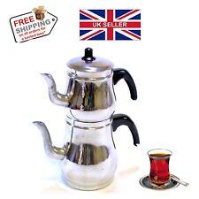 ✔4 PC TRADITIONAL ALUMINIUM HAND MADE *TURKISH TEA POT* TEAPOT UK SELLER✔
