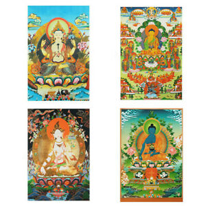 Tibet Thangka Silk Cloth Buddha Statue Mural Art Decor Wall Hanging Poster Large