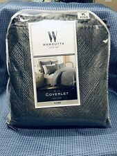 New Wamsutta Frost Grey Bliss/Dark Gray Coverlet Quilted King