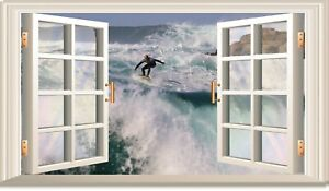 3D OPEN WINDOW OCEAN SURFER WALL ART STICKER  RV CAMPER DECAL CARAVAN 3 SIZES
