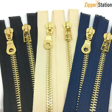 No8 Heavy Duty Polished Gold Teeth Zip - Open End Zipper with three puller style