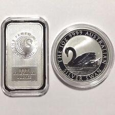 Perth 1oz Australian 9999 Silver Kangaroo Bar & 2017 Silver Swan Custom Capsule