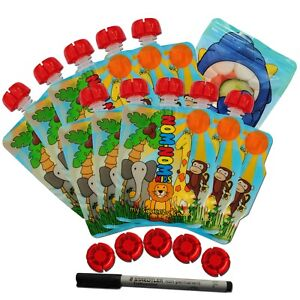Zoo REUSABLE FOOD POUCHES for weaning & toddler snacks Pack of 10 + 5 spare caps
