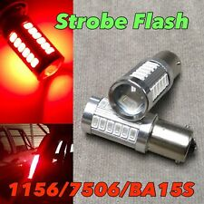 Strobe Flash Rear Turn Signal light Bulb 1156 BA15S 7506 P21W SMD LED Red W1 E