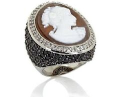HSN Amedeo Nyc 25MM Shell Cameo Black And White Cubic Zirconia Ring Size 6
