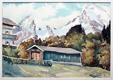 Blick auf den Watzmann von Berchtesgaden aus Aquarell 1940er Jahre Richard Braun