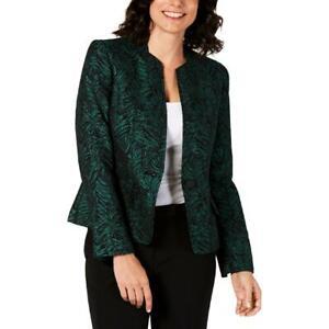Kasper Womens Green Jacquard Long Sleeves One-Button Blazer Jacket 4 BHFO 6036